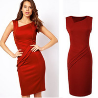 Square Knee Length Sheath Factory Price: 2014 New Fashion Celebrity Red Short Sleeve dress Office Ladies Cocktail skirts Women Casual item