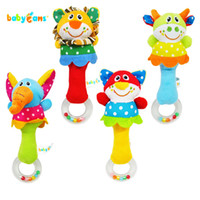 Wholesale Baby toy babyfans animal hand stick baby rattle handbarrows baby hand rattles