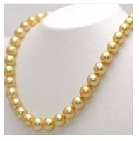 Wholesale Beautiful AAA South Sea mm golden Pearl Necklace inh k gold clasp