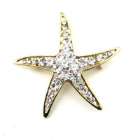 Wholesale Brooches Gold Lucky Starfish Inlaid Rhinestone Fashion Jewelry Best gift LK3035