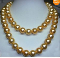 Wholesale 35 inch genuine AAA mm south sea golden pearl necklace K Gold clasp