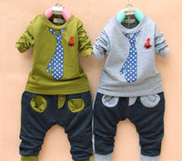 Christmas baby boy christmas outfit - High Quality colors Children Outfits Boys Baby false tie T shirt Pants pieces suits set