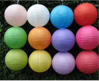 Wholesale Round Chinese Paper Lanterns Lamp quot quot quot Wedding Party Decoration Can Mix Color Mix Size