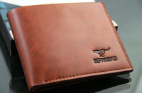 Wholesale Coffee Mens short Wallet Leather Pockets Card Clutch Center Bifold Purse Brown