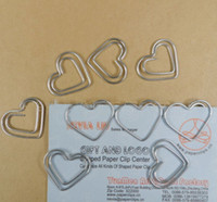 Wholesale 200pcs Office supply silver tone Heart Shaped Paper Clips bookmark in a Blister Card MM