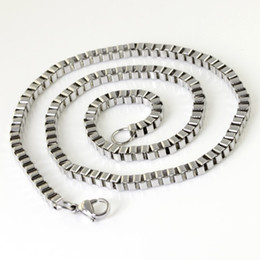 All polished 4MM stainless steel box necklace