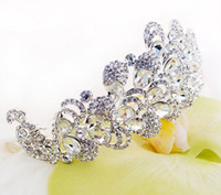 Wholesale Wedding Bridal Austrian Crystal Peacock Veil Tiara Crown Headband Frontlet Pageant Bridal Prom
