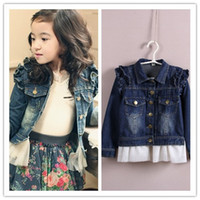 Wholesale Korea Style kids girls denim jackets baby girl spring autumn princess jacket tutu lace coats coat