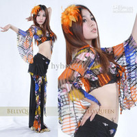 Chiffon Belly Dancing Women Belly dance Set clothing costumes women wear top shirt+pants leopard Sets skirt tribal Set
