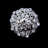 Wholesale Nice Silver Plated Rhinestone Crystal Flower Design Small Collar Pin Brooch