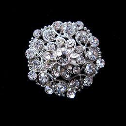 Nice Silver Plated Rhinestone Crystal Flower Design Small Collar Pin Brooch