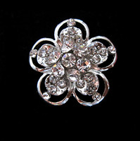 Wholesale Rhodium Silver Plated Clear Rhinestone Glass Crystal Sparkly Flower Pin Brooch