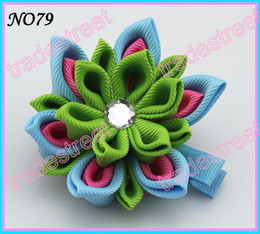 free shipping 110pcs Two layer kanzashi flower clips badge reel hair clips girl baby hair clips