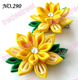 Wholesale Two layer kanzashi flower clips badge reel hair clips girl baby hair clips
