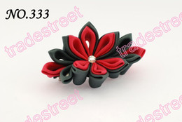free shipping 24pcs Two layer kanzashi flower clips badge reel hair clips girl baby hair clips