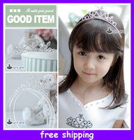 Wholesale 2013 Fashion New Cute Children Kids Girls Rhinestone Princess Hair Sticks Crown Headband Tiara Gift