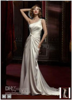 Wholesale 2012 Celebrity Design NEW Beaded One Shoulder Soft Charmeuse Gown Style Chapel Train Wedding Dresses