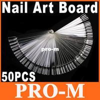 Wholesale 50pcs Transparent False Nail Art Tips Stick Display Practice Fan Board Dropshipping