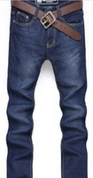 Wholesale new Men s Slim Fit Classic Jeans Trousers Straight Leg Blue men jeans brands bran
