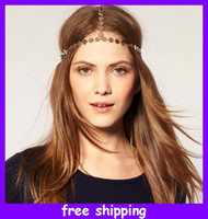 Wholesale Disc Crown Headband Hair Ornament European Style Metal Chain Hair Bands Headband