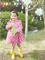 Wholesale Children Raincoat Kids rain coat baby kid polka raincoat waterproof coats pink and yellow mix