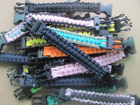 Wholesale Outdoor Bracelets Military strand paracord bracelet survival Strap Lifesaving bracelet mixture colors Buckle with whistle
