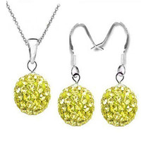 Wholesale Top Sale mm CZ Yellow Clay Disco Balll shamballa necklace earring jewelry set Can be mix colors