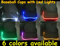 led light baseball cap - 50pcs Baseball Caps with Led Lights led colors Led Lighting Baseball Caps MYY2681