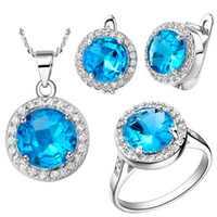 Wholesale Top Sale Exquisite Platinum Plated Women Jewelry Sets With Austria Crystal T011