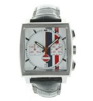al por mayor ls reloj de acero-De lujo Tag Calibre 12 LS Hombres de Acero PVD Reloj de Cuarzo Esfera Blanca de los Hombres de Cuero de los Relojes deportivos TA40