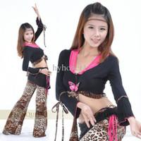 Women Belly Dancing Chiffon Belly dance Sets clothing women wear costumes new winter leopard Set shirt top+ skirt tribal Set