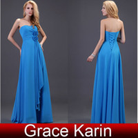 Sleeveless Strapless A-Line Free Shipping!!Grace Karin Sexy Flower Ruched Bridesmaid Dress Sheath Formal Dresses Gown CL3420