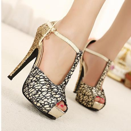 Noble Sexy Lace With Buckle Sparkly Gold Heel T-Strap Peep Toe