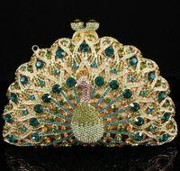 Wholesale 2013 elegant peacock shaped swarovski evening clutch bag S0801