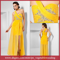Wholesale Newest Design Yellow Ruffle Crystals Sequin Chiffon Side Splite A Line Evening Party Dress