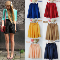 Wholesale Fashion Retro Women Sexy Mini Skirt High Waist Double Layer Pleated Chiffon Skirt colors G0152