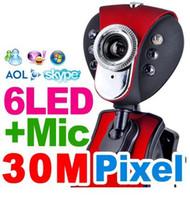 achat en gros de ordinateur portable-USB 2.0 50,0 M 6 LED PC Camera HD Webcam Caméra Web Cam avec MIC pour ordinateur PC portable