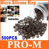 Wholesale 500pcs Brown Silicone Micro Link Rings Beads for Human Hair Extensions Dropshipping