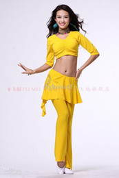 Wholesale Belly dance top tees costume dancing wear new long sleeved crystal cotton T shirt with a chest pad