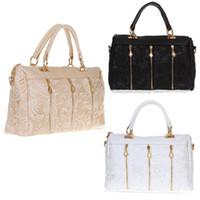 Womens Lady Fashion PU retrò pizzo (faux) Leather Tote della borsa del signore di Crossbody Borse pizzo spalla H10516