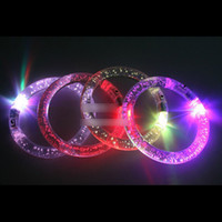 Wholesale Light Blinking Hot LED Colorful Crystal Bracelets party and gifts Flashing Bracelet