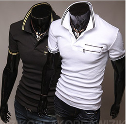 Wholesale 2013 new Latest dual zipper design short sleeve cuffs lapel shirt men short sleeve2 color option