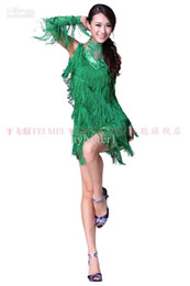 Wholesale New adult ballroom Latin dance dress practice suit V collar tassel women dance costumes wear skirt