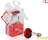 """Cheap """"With This Ring"""" Engagement Ring Key Chain Novelty Giant Diamond Keychain Jewelry Gift Box 20pcs"""