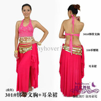 Women Belly Dancing free size (medium) Belly dance Parure tribal belly dancing costumes top+skirt+hip scarf ear skirt set women wear ears