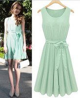 Round Mini A Line Fashion Summer Women Ladies Chiffon Sleeveless Jumper Dresses Round Neck Solid Green Pleated Short