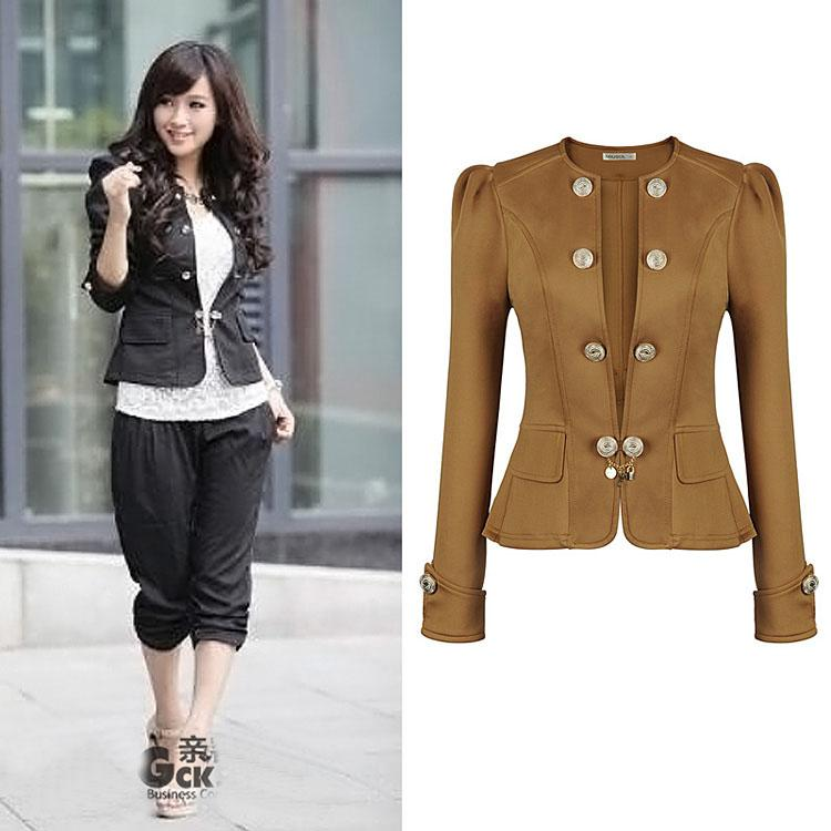 Women Fashion Short Coat Puff Sleeve Falbala Little Double ...
