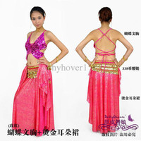 Cheap Tribal belly dance practice women wear costumes skirt+bra sets the Butterfly bra tops bronzing ears