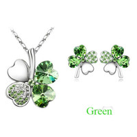 Wholesale Earrings Necklaces Sets crystal Love s leave clover pendant Factory price Best gift LK3198