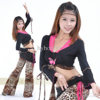 Women Chiffon free size (medium) Belly dance Sets clothing women wear costumes new winter leopard Set shirt top+ skirt tribal Set